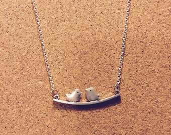 Bird necklace, lovebirds, perched, silver,
