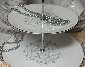 2 Tier Cake Stand ~ Vintage Bone China Royal Worcester 'Bridal Lace' Plates ~ Grey, Yellow & Pink Scroll And Floral Pattern On White