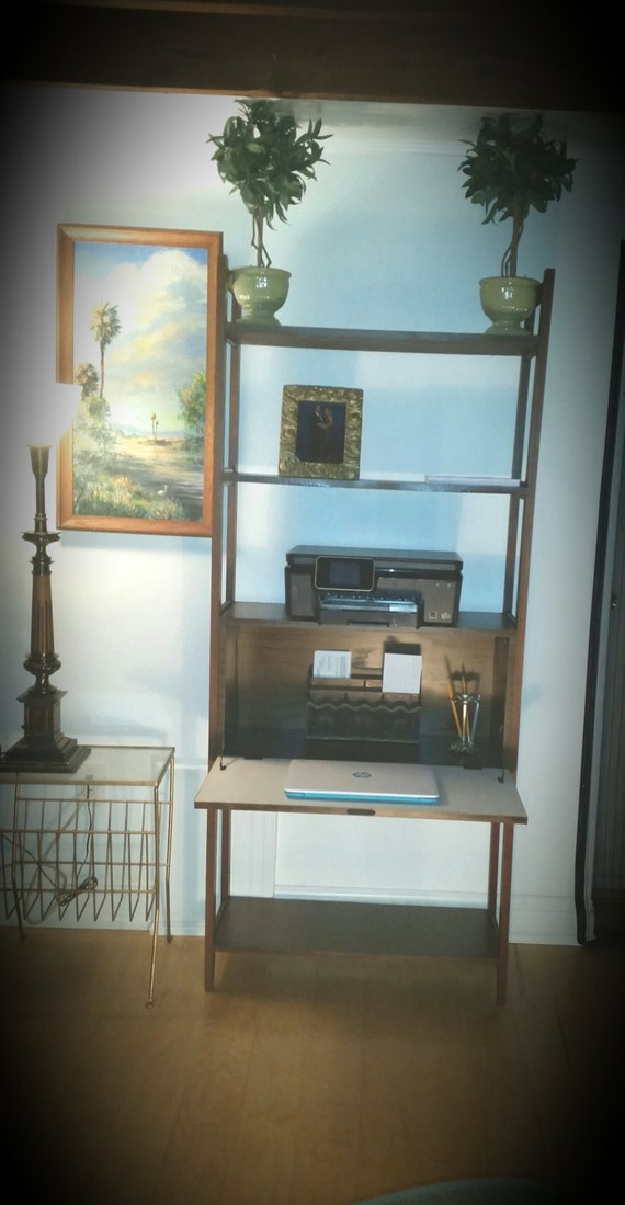 Danish modern wall unit with pull down desk by vintagenfinity for Modern wall bar unit
