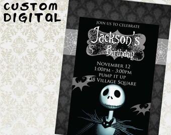 Nightmare Before Christmas Tim Burton Birthday Party Invitation Jack Skellington Digital Printable Back and Silver Custom invitiation