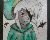 Watercolor Halloween, video game art, legend of zelda, halloween decor, dorm decor, link zelda, twilight princess, vampire art, nintendo art