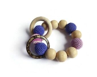 Wooden teether Teething bracelet Crochet wooden beads Baby teething toy Organic teether Organic baby toy Wooden rattle Teething beads
