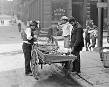 Food Cart in Little Italy, 1906. Vintage Photo Digital Download. Black & White Photograph. New York City, Italian, Historical.