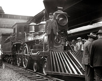 Steam Train at Station, 1923. Vintage Photo Digital Download. Black & White Photograph. Railroad, Locomotive, 1920s, 20s, Historical.