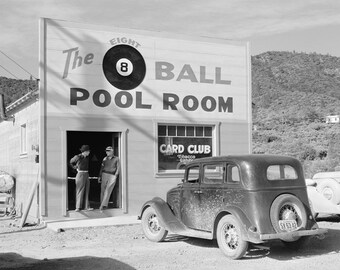 The Eight Ball Pool Room, 1940. Vintage Photo Digital Download. Black & White Photograph. Pool, Billiards, Pool Hall, Cars, California.