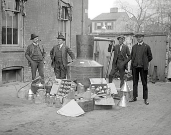 Prohibition Agents with Moonshine Still, 1922. Vintage Photo Digital Download. Bootleg, Whiskey, Police, Black & White, 1920s, 20s.