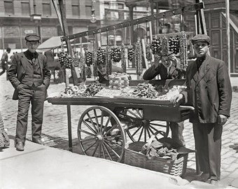 Little Italy Food Cart, 1908. Vintage Photo Reproduction Print. 8x10 Black & White Photograph. New York, Italian Food, Feast, Historical.