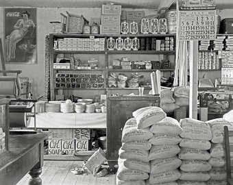 Country General Store, 1936. Vintage Photo Digital Download. Black & White Photograph. Mercantile, Dry Goods, 1930s, 30s, Historical.