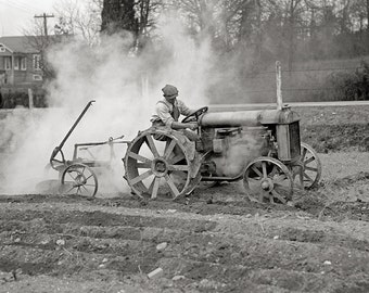 Farmer Driving Tractor, 1925. Vintage Photo Digital Download. Black & White Photograph. Farm, Rural, Country, 1920s, 20s, Historical.