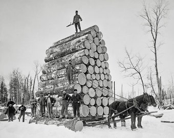 Lumberjacks At Work, 1890. Vintage Photo Digital Download. Black & White Photograph. Loggers, Horses, Michigan, Winter, Snow, Historical.