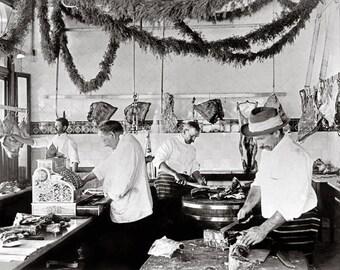 Butcher Shop, 1895. Vintage Photo Digital Download. Black & White Photograph. Meat, Market, Restaurant, Kitchen, 1800s, Historical.