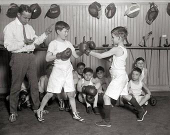 Boys' Boxing Club, 1925. Vintage Photo Digital Download. Black & White Photograph. Boxers, Athletes, Sports, 1920s, 20s, Historical.