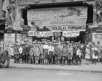 Children at the Movies, 1925. Vintage Photo Digital Download. Black & White Photograph. Kids, Theater, Hollywood, 1920s, 20s, Historical.