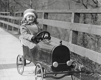 Little Girl Driving Pedal Car, 1922. Vintage Photo Digital Download. Black & White Photograph. Children, Kids, Toys, 1920s, 20s, Historical.