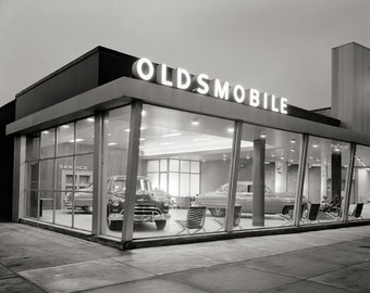 Mid-Century Auto Dealership, 1950. Vintage Photo Digital Download. Black & White Photograph. Cars, Automobiles, 1950s, 50s, Historical.