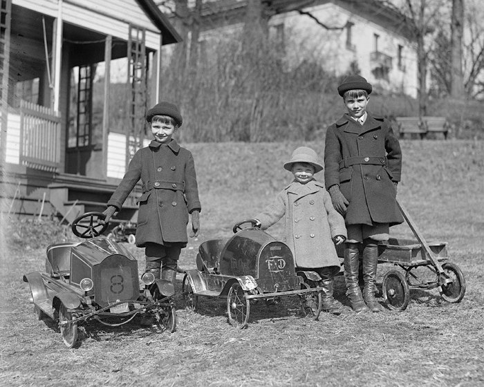 children with pedal cars 1924 vintage photo digital download black white photograph