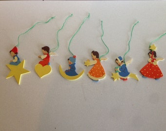 German Wooden Angel Christmas Ornaments, Vintage 1960s - Package of 6