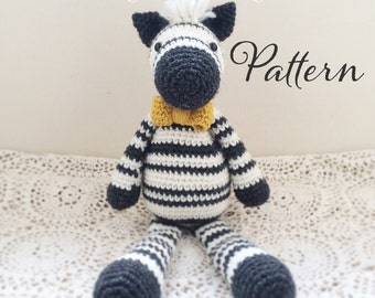Wilfred the Dapper Zebra Toy Amigurumi Crochet Pattern PDF E-book
