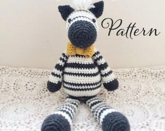 Wilfred the Dapper Zebra Toy Amigurumi Crochet Pattern PDF E-book