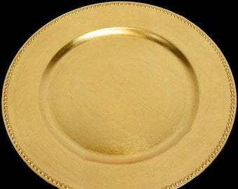 Beaded Heavy Duty Charger Plate in Gold or Silver, Charger Plates For Weddings, Anniversary or Other Celebrations
