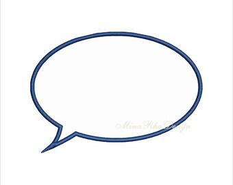 Conversation Speech Bubble Applique Design Instant Download