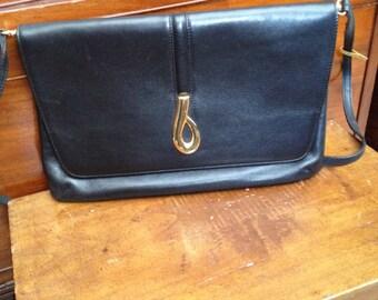 Henry black leather shoulder bag vivalli