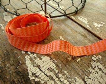 SALE - Orange Chevron Wired Ribbon