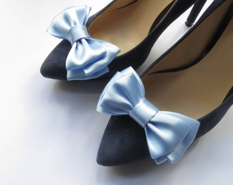 Ice blue/icy blue light blue satin ribbon shoe clips/ a pair of wedding/bridal/bridesmaid shoe clips/ metal clips/bows/in any color