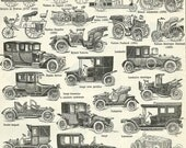 1930  Antique cars, antique print, Larousse dictionary, early 20th, french vintage, scrapbooking home decor wall art