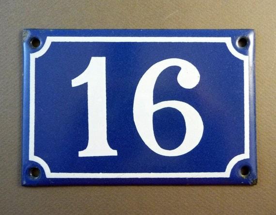 plaque maill e bleue 16 num ro de rue france par sofrenchvintage. Black Bedroom Furniture Sets. Home Design Ideas