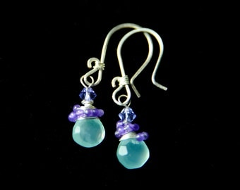 Chalcedony, Amethyst and Sterling Silver Drop Earrings