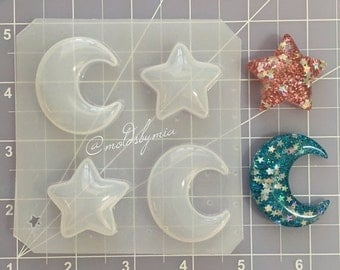 ON SALE SALE Price!! Super puffy kawaii moons & stars flexible plastic resin mold set