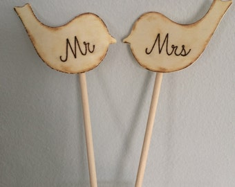 Mr & Mrs Rustic Wooden Wedding Love Bird Cake Toppers