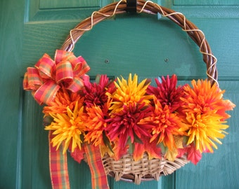 Fall Door Hanger, Fall Door Basket, Autumn Wreath, Fall Door Wreath