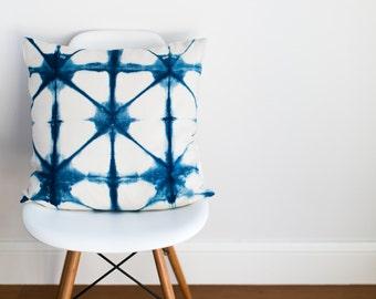 SALE Square Triangles Indigo Cushion