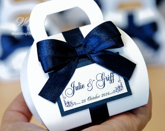 Navy blue custom personalized Wedding bonbonniere - Wedding Favor Candy boxes with satin bow and tag - White & Navy