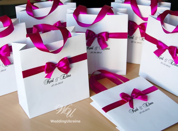 Unique Wedding Welcome Gifts : Personalized Wedding Welcome Bags with satin ribbon, bow and names ...