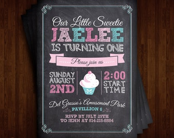 Cupcake Theme 1st Birthday Invitation