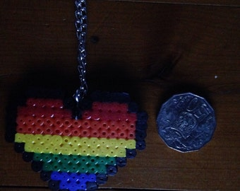 Rainbow pixel heart hama bead necklace