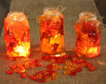 Leaf Jars - Leaf Mason Jars - Autumn Leaves Jars - Mason Jar Leaf Lanterns - Autumn Leaves Mason Jars Lamp - Rustic Mason Jar Light
