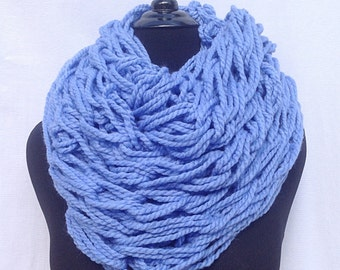 Infinity Scarf in Periwinkle Blue (Arm Knitted)