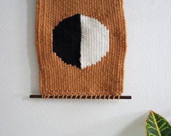 Weaving - Simple Mustard, Black, and White Woven Wall Hanging