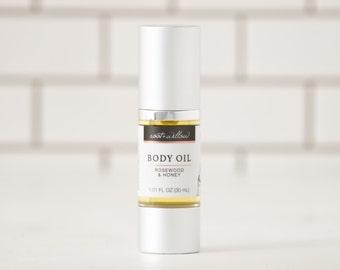 Rosewood + Honey Body Oil 1.1 Fl oz, Natural Body Oil, Bath oil, Massage Oil, Rosewood and Honey, Organic Moisturizer, Massage Oil,