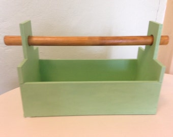 wooden box handmade colored with colors in mint green.