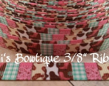 "Cowgirl Up Western Mix 3/8"" Printed Grosgrain Ribbon, Hairbow Ribbon, Country Ribbon, Craft Supply, Bow Supply"