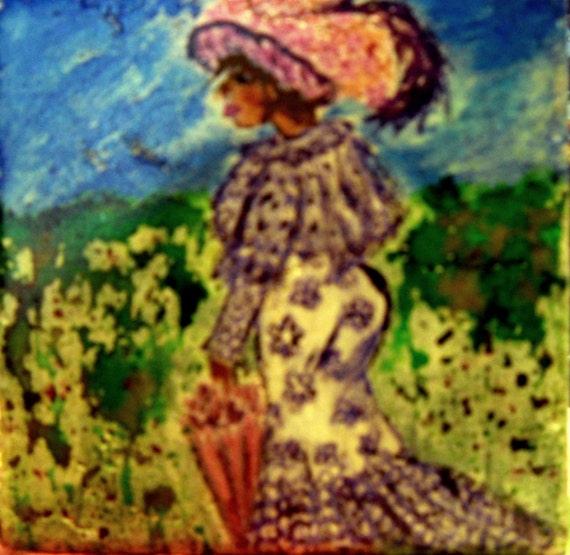 India Ink Portrait on Ceramic Tile, MIZ LILAC, Ethnic Art women of color African American Art ragtime Edwardian Harlem Renaissance