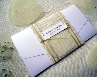 Pocket Wedding Invitations Burlap Invitations Rustic Wedding Invitations Simple and Unique Wedding Invitation
