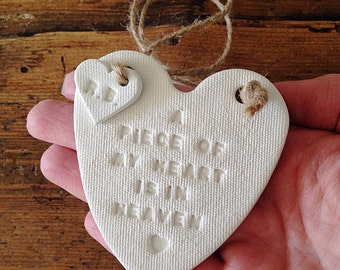A piece of my heart is in heaven: white clay heart & personalised tag