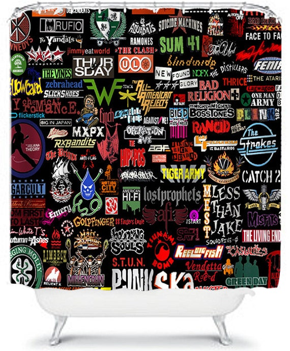 Punk rock shower curtain punk bands my by xonceuponadesignx for Punk rock bathroom decor
