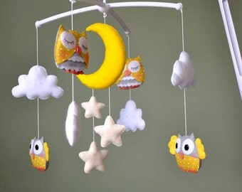 Owl Mobile, Yellow and Gray Mobile, Baby Mobile, Crib Mobile with music box,  Nursery Mobile